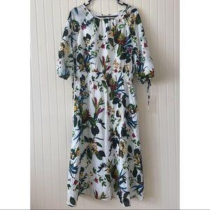 Maggy London Floral Midi Dress White Size 16